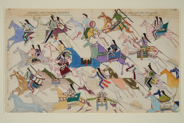 Thomas Haukaas, born San Juan, Puerto Rico, 1950, Tribal Affiliation: Sicangu Lakota, More Time Expected, 2002, handmade ink and pencil on antique ledger paper, 16 1/2 by 27 1/2 inches. Tacoma Art Museum, Gift of Greg Kucera and Larry Yocom in honor of Rock Hushka, 2008.