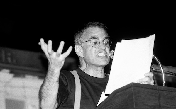 Larry Kramer speaking at a Boston Gay Town Meeting 6.9.87 at historic Faneuil Hall in Boston MA sponsored by the Boston Lesbian and Gay Political Alliance. Photo by Ellen Shub/Courtesy HBO