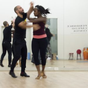 Joseph Rivera, cofounder of Baila Society, and team. Dance rehearsal.