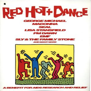 Keith Haring, Untitled, 1987, poster art print (used as the cover image for the AIDS-benefit LP album Red Hot + Dance, produced in 1992 by the Red Hot Organization, 12 by 12 inches); image © Keith Haring Foundation; album in the collection of Leslie-Lohman Gay Art Museum
