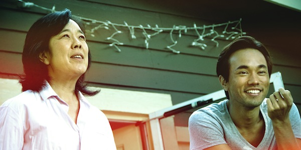 Sharon as Emma and Teddy Chen Culver as her son in EAT WITH ME (Wolfe Video)