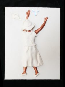 Praise the Lord, 2009, Crayola clay on canvas, Magic Markers, 9 by 12 inches, 1 inch deep