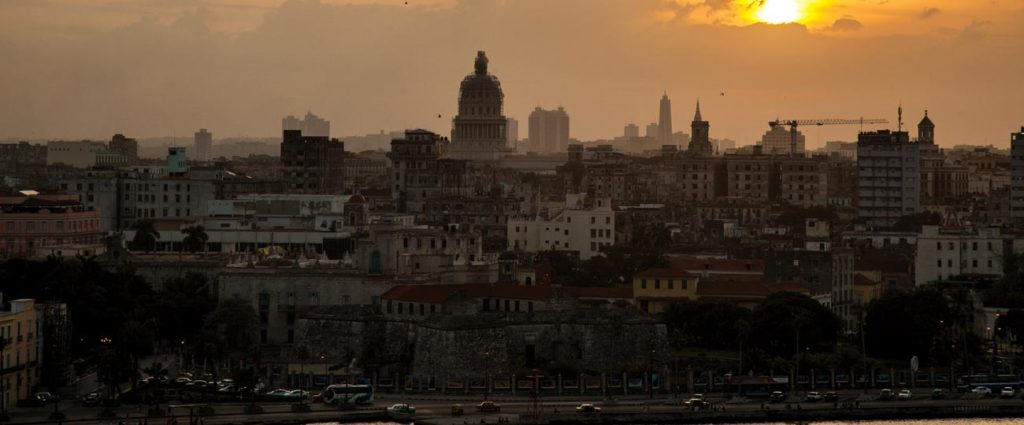 Havana skyline at sunset: Museum of the Revolution, former Presidential Palace, in scaffolding