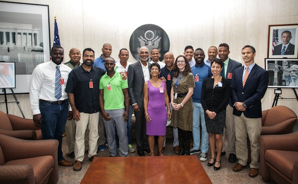 The Black AIDS Institute delegation at the U.S. Embassy, with embassy staff and Cuban AIDS activists. Photo by Sean Black
