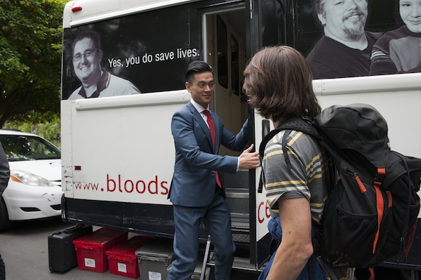Assemblymember Low attempts to donate blood in an effort to raise awareness about an outdated policy that discriminates against gay and bisexual men. Photo courtesy Low