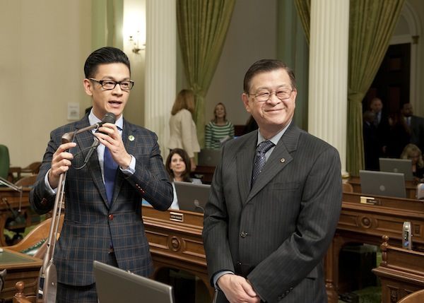 Assembly Member Low introducing his father, Arthur Low, during Floor Session. Photo courtesy Low