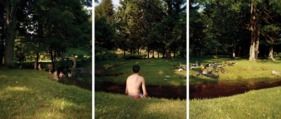 Swimmers, 2003, archival pigment prints (triptych), 24 by 60 inches
