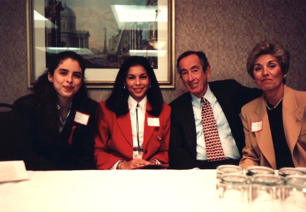 Love Heals press conference for World AIDS Day. 12/01/93. From left to right: Dini von Mueffling, Jeanne Moutoussamy-Ashe, Jerry and Carol Gertz. Photo by Victoria Leacock Hoffman