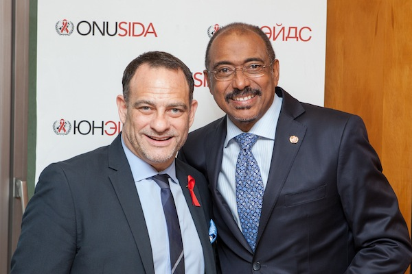 Joel Goldman and UNAIDS executive director Michel Sidibé. Photo courtesy UNAIDS