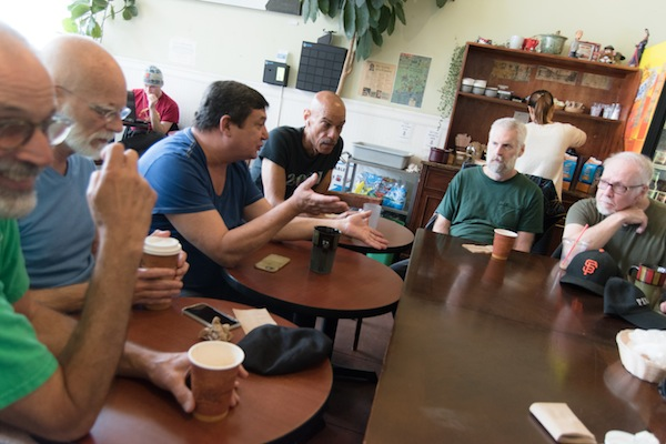 On Saturday mornings, the men meet for coffee and conversation.