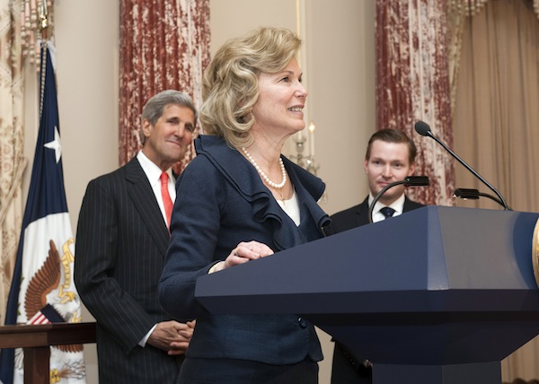 Deborah Birx delivers remarks at her 2014 swearing-in ceremony to become Ambassador-at-Large and Coordinator of the United States Government Activities to Combat HIV/AIDS at the U.S. Department of State in D.C. Photo courtesy U.S. Department of State