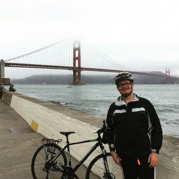 Joshua bicycled across the Golden Gate on a recent trip to San Francisco. Photo courtesy J. Middleton