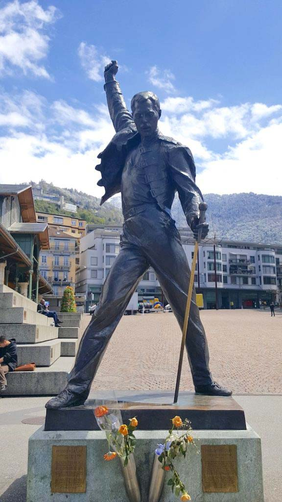 A statue of Freddie Mercury in Montreux, where the Queen frontman often recorded. Photo by Beth Geiger