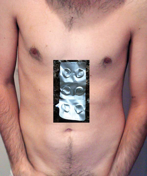 Pastillas + Cuerpo+ / Pills + Body+, 2013, photo, collage, 24 by 24 inches; 19 by 27 inches