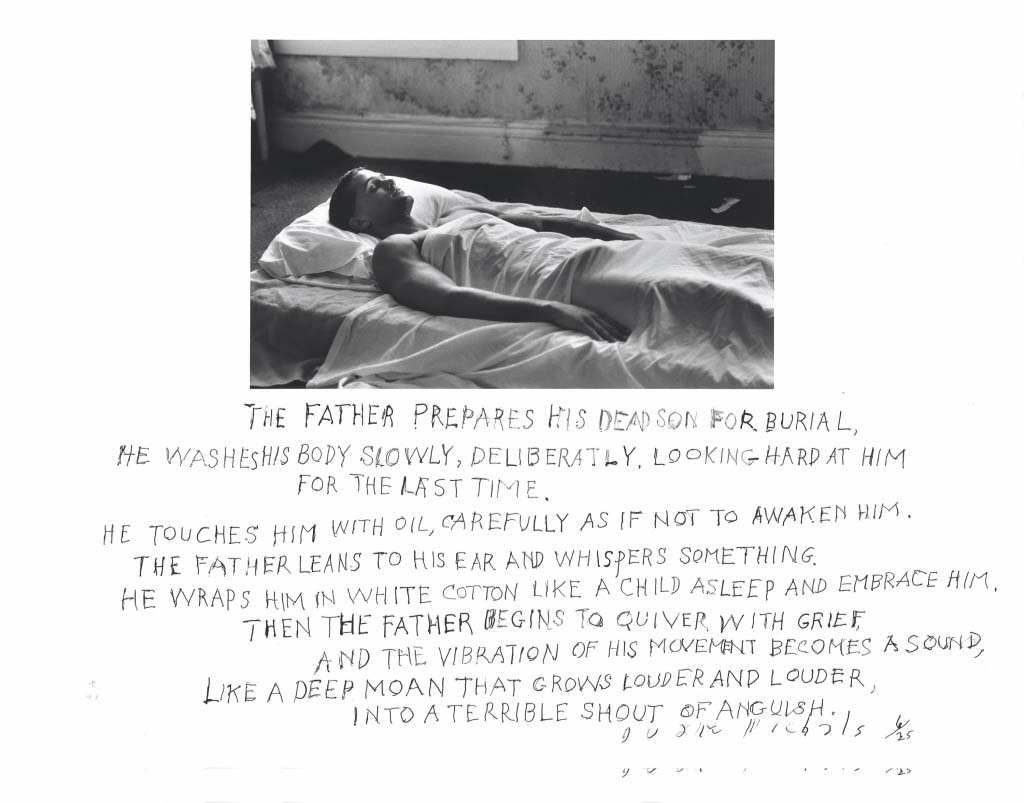 The Father Prepares His Dead Son for Burial © Duane Michals. Courtesy DC Moore Gallery