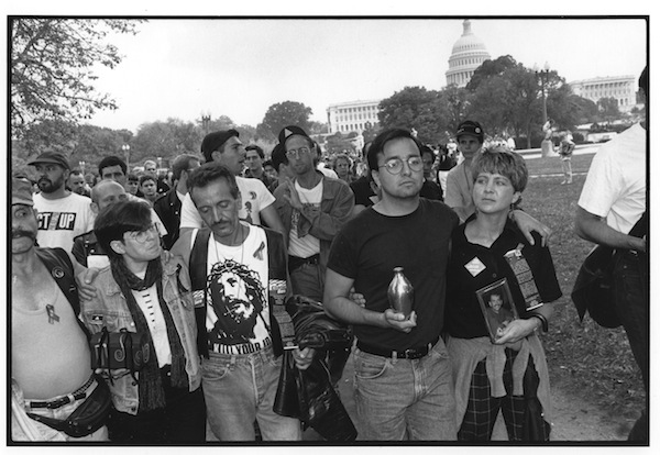 Marchers at the start of an AIDS demonstration, Washington, D.C., November 1992, gelatin silver print, dimensions vary: 6 by 9 inches, 15 by 22 inches