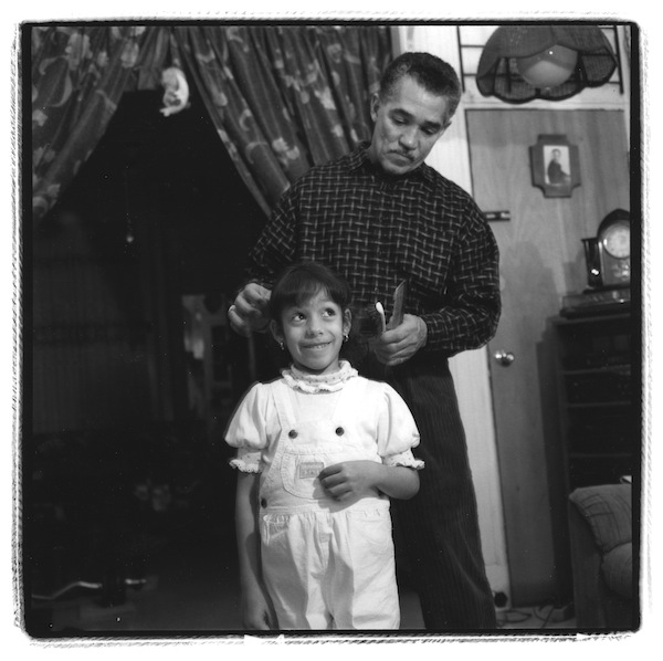 Kristy Fernandez and her father Carney, Brooklyn, New York January 16, 1993, gelatin silver print, dimensions vary: 6 by 9 inches, 15 by 22 inches