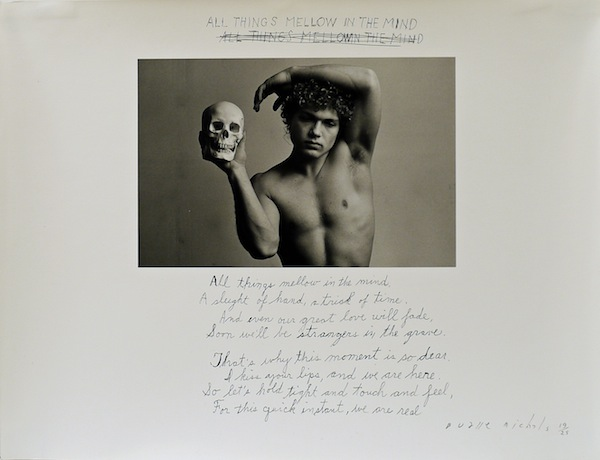 All Things Mellow in the Mind, 1986, gelatin silver print with hand-applied text, 5 by 7 1/4 inches (image); 11 by 14 inches (paper) ©Duane Michals. Courtesy of DC Moore Gallery, New York.