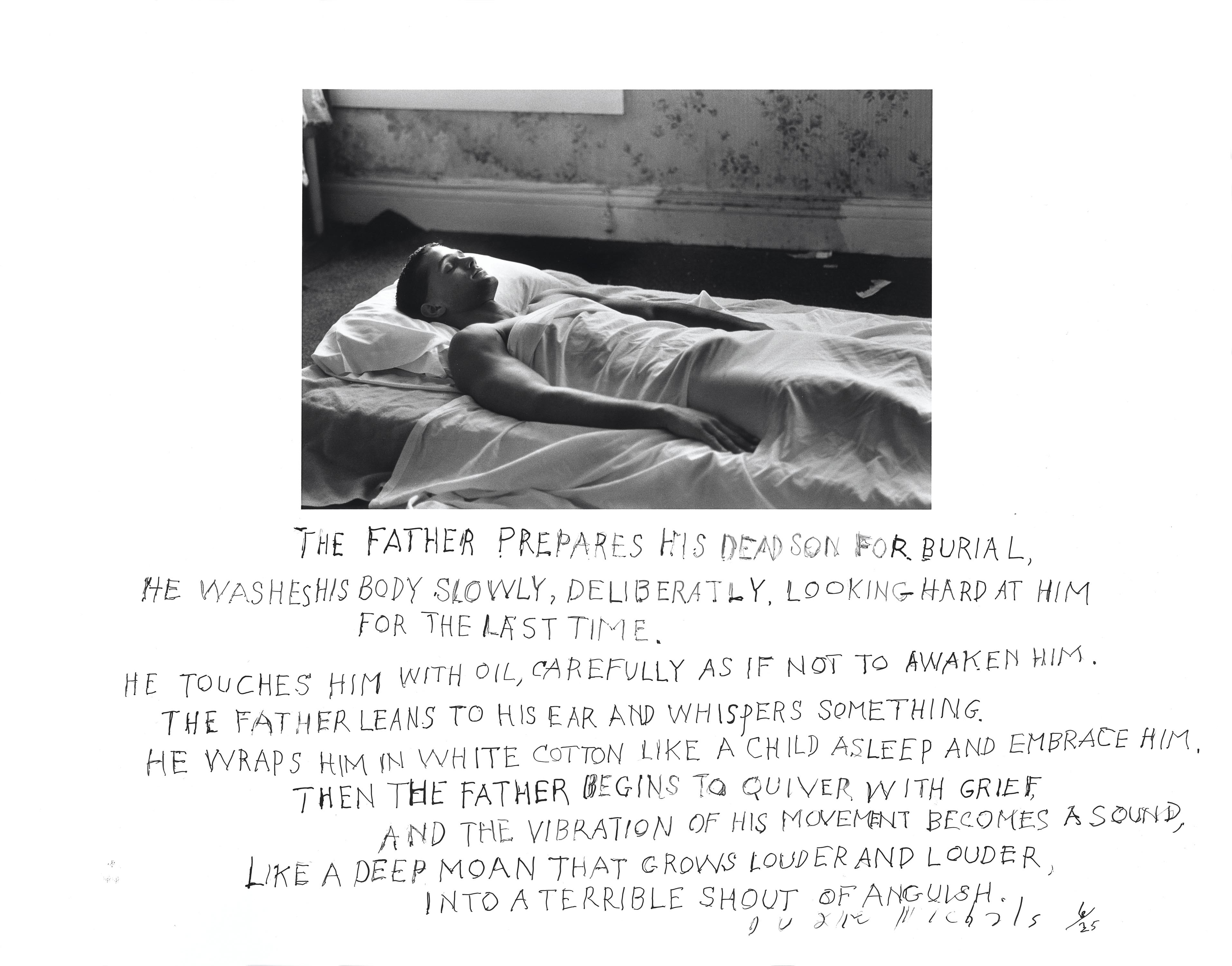 The Father Prepares His Dead Son for Burial, 1991, gelatin silver print with hand-applied text, 4 1/2 by 7 inches (image); 11 by 14 inches (paper) ©Duane Michals. Courtesy of DC Moore Gallery, New York.