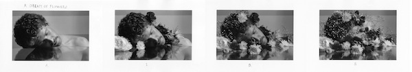 The Dream of Flowers, 1986, four gelatin silver prints with hand-applied text, 3 1/4 by 5 inches (each image); 5 by 8 inches (each paper) ©Duane Michals. Courtesy of DC Moore Gallery New York.