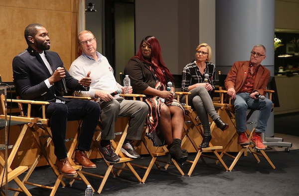(L-R) Writer Tarell Alvin McCraney, Dr. Michael Gottlieb, HIV and Trans activist Chandi Moore, actress Jamie Pressly and writer Neal Baer attend The Elizabeth Taylor AIDS Foundation World AIDS Day Event co-hosted by SAG-AFTRA at the at James Cagney Boardroom on November 30, 2016 in Los Angeles, California. (Photo by Jesse Grant/Getty Images for The Elizabeth Taylor AIDS Foundation )